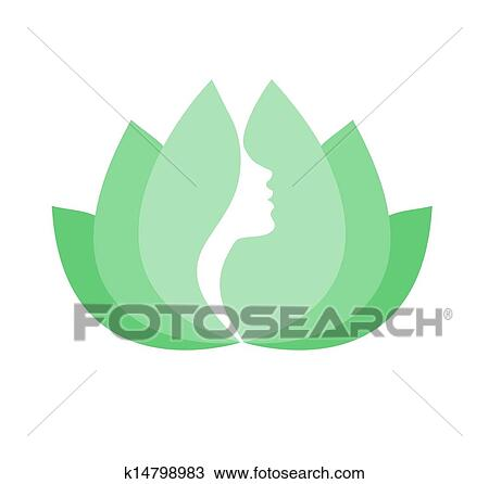 Rosto Mulher Perfil Em Flor Lotus Desenho K14798983 Fotosearch