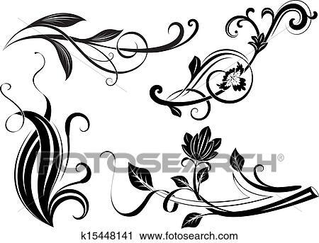 Clipart - schwarz weiß, blumen-, zweige, design, elements. k15448141 ...