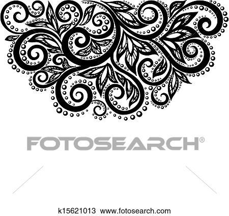 Clipart - schwarz weiß, spitze, blumen, und, blätter, freigestellt ...