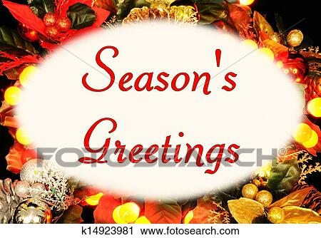 Stock photography of seasons greeting message k14923981 search seasons greetings message in an oval frame set against a christmas background england uk western europe m4hsunfo