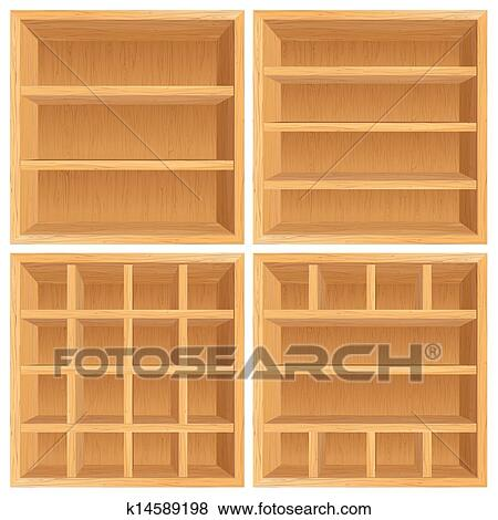 Set Of Wooden Bookshelf Cabinets