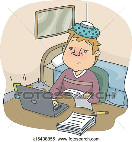 clipart of sick man at work k15438855 search clip art