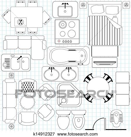 Clip Art Simple Furniture Floor Plan Fotosearch Search Clipart Ilration Posters