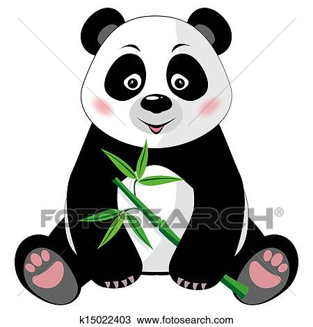 clipart of sitting cute panda with bamboo isolated on white rh fotosearch com cute panda bear clipart cute panda clipart images