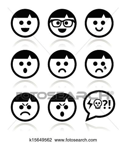Clipart Of Smiley Faces Avatar Vector Icons S K15649562
