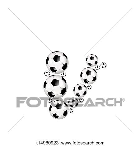 Soccer Alphabet Lowercase Letter V Drawing