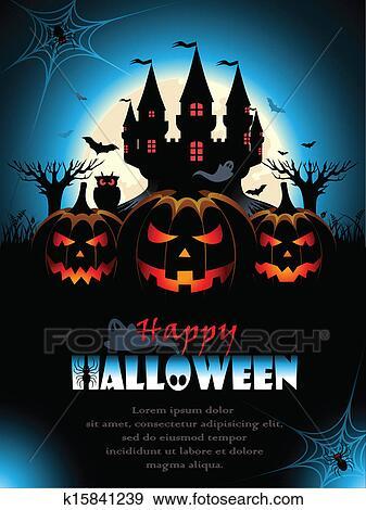 Spooky Halloween Background Clip Art | k15841239 | Fotosearch