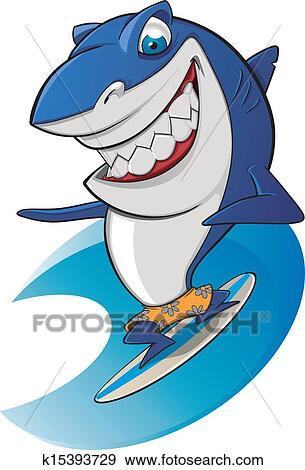 Clip Art Squalo Surfing Simpatico K15393729 Cerca Clipart
