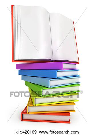 Stock Illustration of Stack of colorful books with open book on the ...