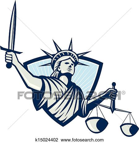 clipart of statue of liberty holding scales justice sword