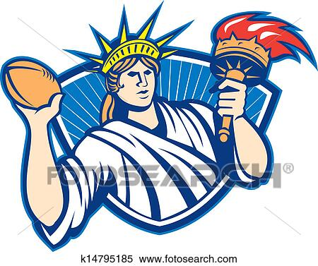 Clipart Of Statue Of Liberty Throwing Football Ball K14795185