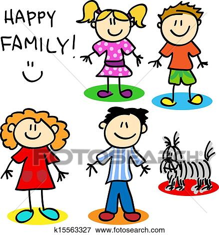 clip art of stick figure family k15563327 search clipart rh fotosearch com clipart of a family black and white clipart of a family in prayer