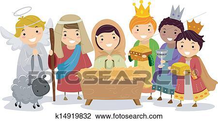 Stickman Kids In Nativity School Play Clipart K14919832 Fotosearch