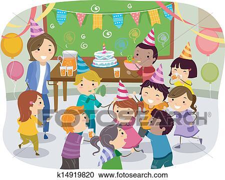 Stickman Kids School Birthday Party Clipart