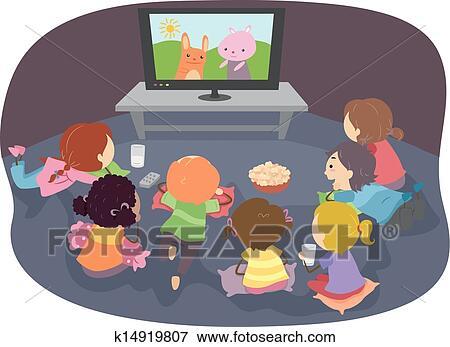 Stickman Kids Watching Cartoons Clip Art | k14919807 ...