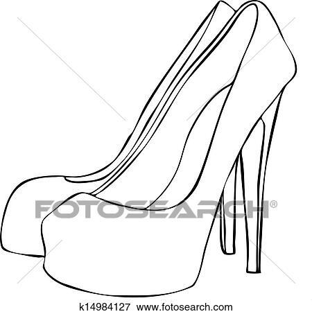 Clip Art Stilvoll Hoher Heeled Stilett Schuhe K14984127