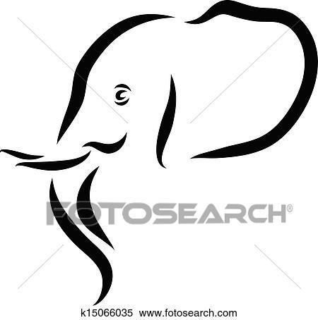 Clipart t te l phant k15066035 recherchez des clip - Tete elephant dessin ...