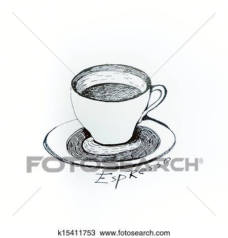 Disegno Tazza Caffè Dipinto Con Inchiostro Su Uno Foglio