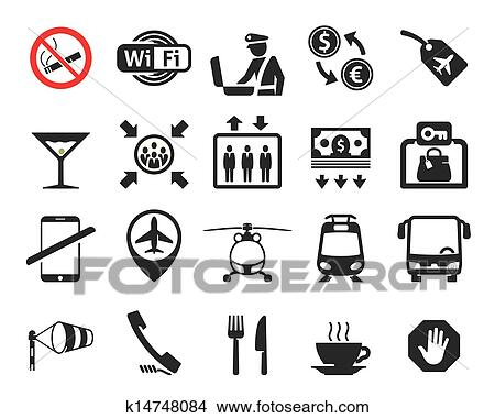 Clipart Of Travel And Airport Signs Symbols K14748084 Search Clip