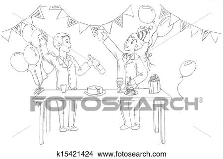 drawings of two people at the festival k15421424 search clip art