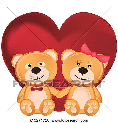 Clipart Of Two Teddy Bears In Valentine S Day K15271720 Search