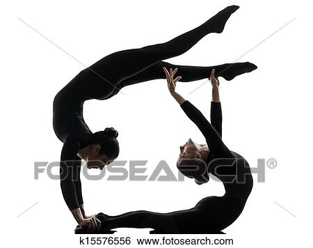 stock images of two women contortionist exercising