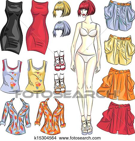 Clipart of vector cute dress up paper doll k15304564 search clip fashion girl cute dress up paper doll body template and outfit in different color combinations maxwellsz