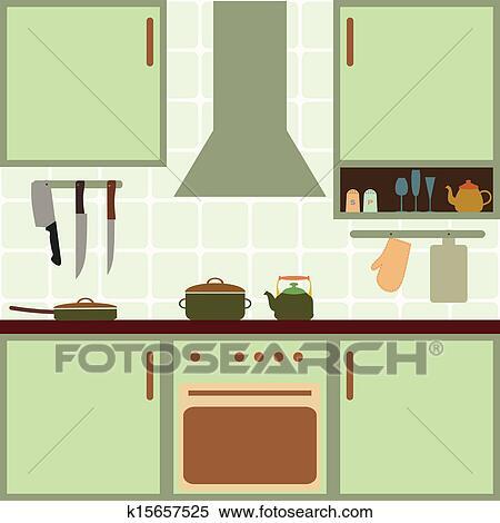 Clipart Of Vector Kitchen K15657525 Search Clip Art Illustration