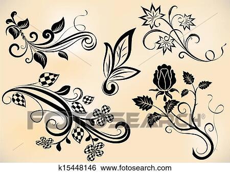 Vindima Ramos E Flores Desenho Vetorial Elements Clipart