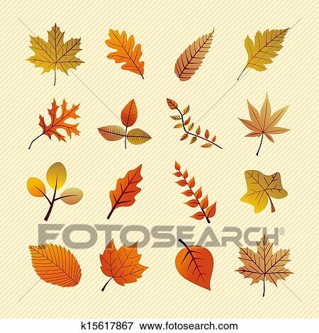 Clip Art Of Vintage Autumn Season Tree Leaves Set Eps10 File