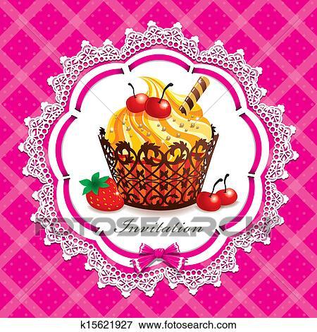 Clip Art Of Vintage Cupcake Design Template K15621927 Search