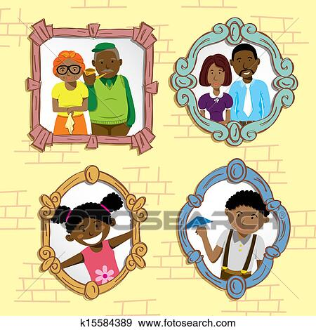 Clip Art Of Vintage Frame With African Family K15584389
