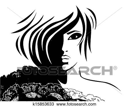 dessin visage femme a mode coiffure k15853633 recherchez des cliparts des. Black Bedroom Furniture Sets. Home Design Ideas