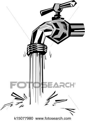 Clipart Wasser Hahn Und Flussiges Wasser K15077980 Suche Clip