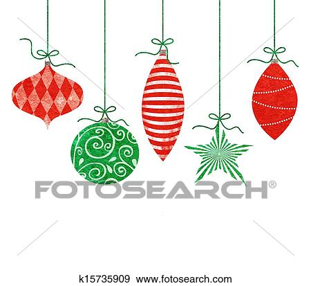Drawings Of Christmas Ornaments.Whimsical Hanging Christmas Ornaments Stock Illustration