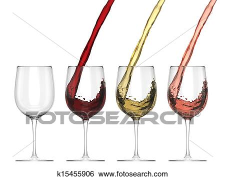 stock illustration of wine pouring into glass set k15455906