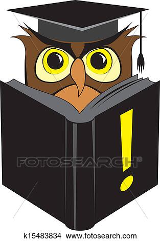 Clipart Of Wise Owl Reading Book K15483834