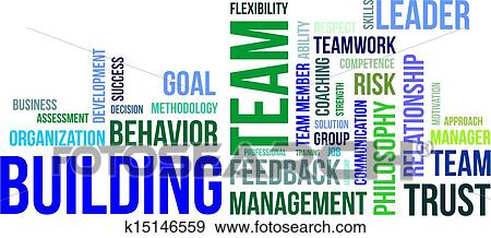 clip art of word cloud team building k15146559 search clipart rh fotosearch com team building activities clipart Fun Team Building Clip Art