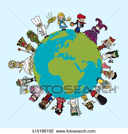 Clipart   World Map, Diversity People Cartoons With Distinctive Outfit  Concept Illustration. Vector File