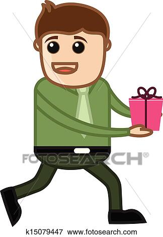 Young Man Running With Gift Box Clip Art K15079447