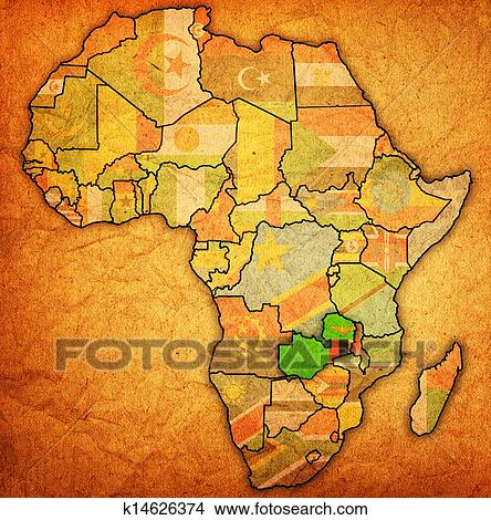 Stock Photo Of Zambia On Actual Map Of Africa K14626374 Search