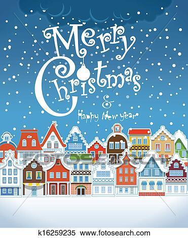 クリスマス 挨拶 Card 型 建物 で 積雪量 クリップアート