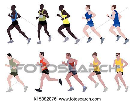 マラソン走者 イラスト クリップアート K15882076 Fotosearch