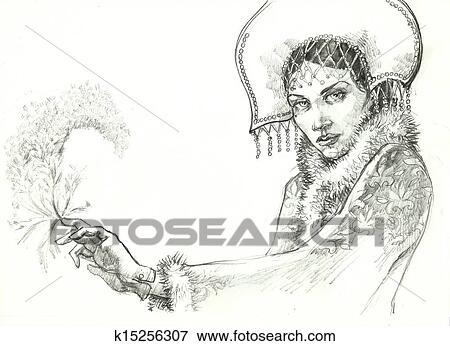 ロシア人 おとぎ話 クリスマス 女の子 図画 イラスト K15256307