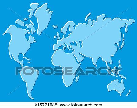世界地図 イラスト クリップアート K15771688 Fotosearch