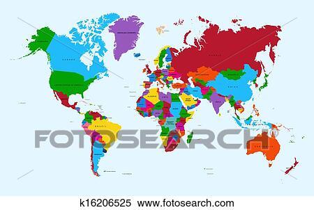 世界地図 カラフルである 国 地図帳 Eps10 ベクトル File クリップアート切り張りイラスト絵画集