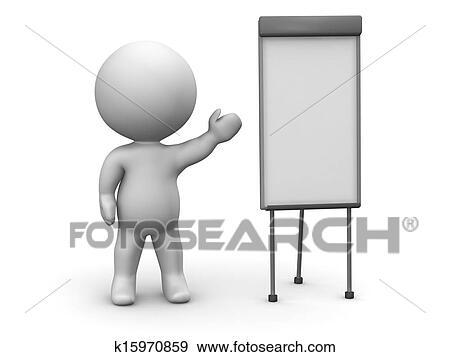 イラスト 3d 人 whiteboard プレゼンテーション k15970859