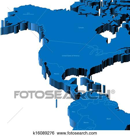 3d map of United States and Central America Clip Art ...