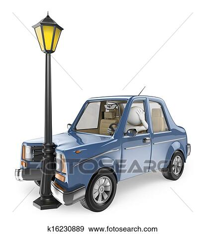 Stock Illustration of 3D white people. Car accident k16230889 ...