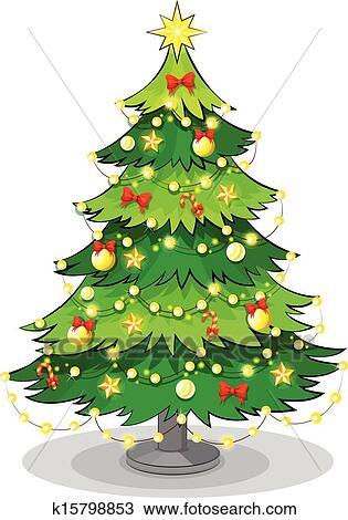 Clipart A Grün Weihnachtsbaum Mit Funkeln Lichter K15798853